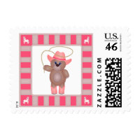 Girly Pink Cowgirl Teddy Bear Cartoon Mascot Stamp