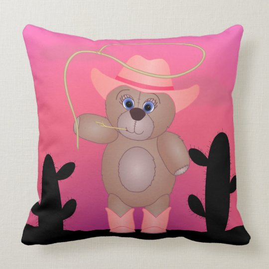 Girly Pink Cowgirl Teddy Bear Cartoon Pillow