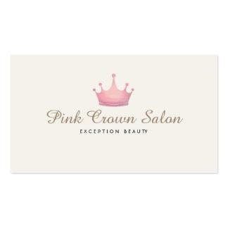 Girly Pink Crown Logo, Makeup Artist Beauty Salon Business Card Templates