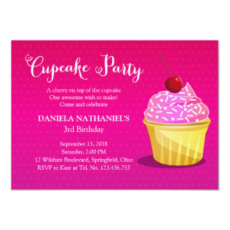Girly Pink Cupcake Party Card