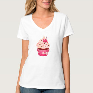 Girly Pink Cupcake Sprinkles And Cherry T-Shirt