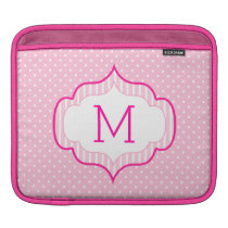 Girly Pink Custom Monogram Polka Dot Pattern iPad Sleeve