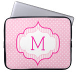 Girly Pink Custom Monogram Polka Dot Pattern Laptop Sleeve