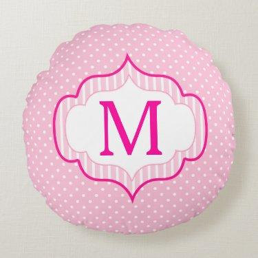 Girly Pink Custom Monogram Polka Dot Pattern Round Pillow