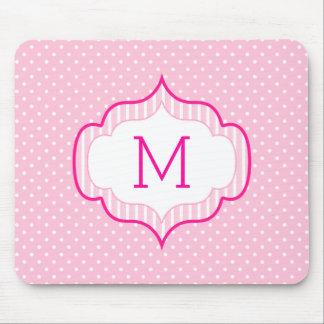 Girly Pink Custom Monogram Polka Dot Pattern Mouse Pad