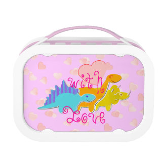 Girly Pink Cute Dinosaurs with Love Hearts Kid's Lunchboxes