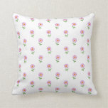 Girly Pink Daisies on White Background Pattern Throw Pillow