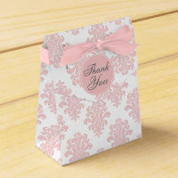 Girly Pink Damask Custom Favor Box