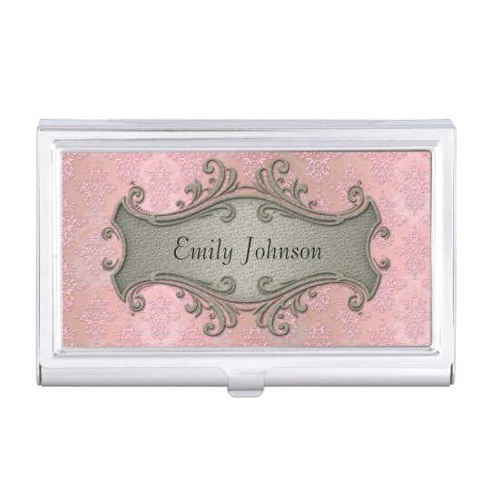 Girly pink damask fancy victorian business card holder zazzle girly pink damask fancy victorian business card holder colourmoves