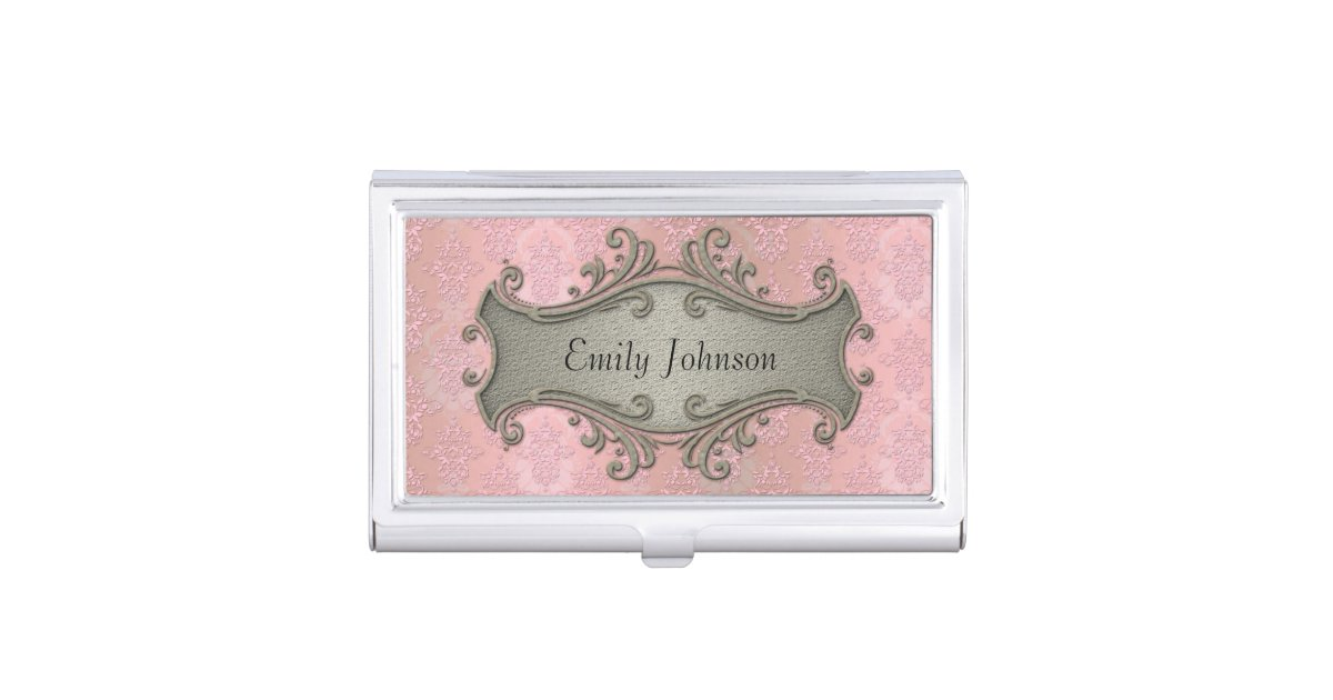 Girly Pink Damask Fancy Victorian Business Card Holder | Zazzle.com