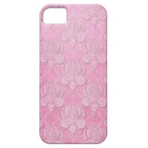 Girly Pink Damask iPhone 5 Case