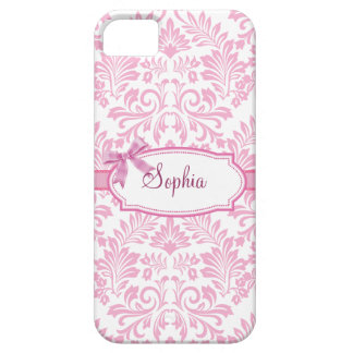 Girly Pink Damask Iphone 5 Case