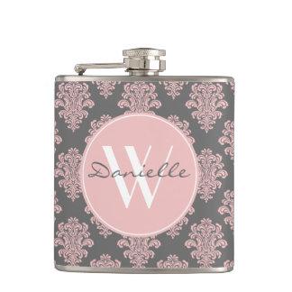 Girly Pink Damask Monogram Flask