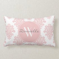 Girly Pink Damask Monogram Lumbar Pillow