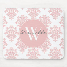 Girly Pink Damask Monogram Mouse Pad at Zazzle