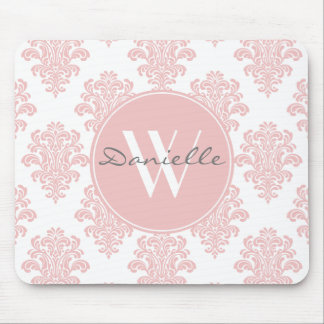 Girly Pink Damask Monogram Mouse Pad