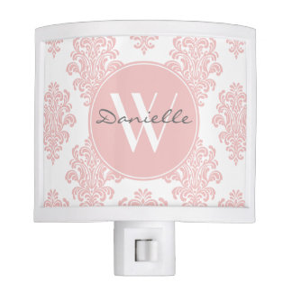 Girly Pink Damask Monogram Night Light