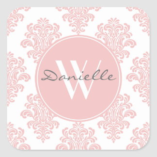 Girly Pink Damask Monogram Square Sticker