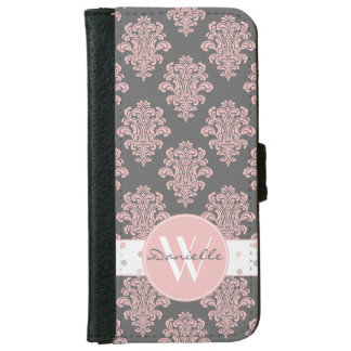 Girly Pink Damask Monogram Wallet Phone Case For iPhone 6/6s