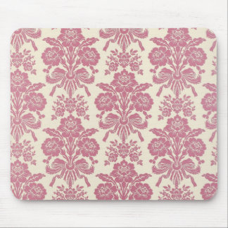 Girly Pink Damask Mouse Pad