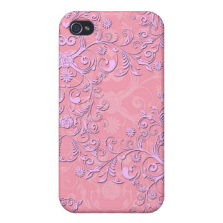 Girly Pink Damask Pattern iPhone  Case Cover For iPhone 4