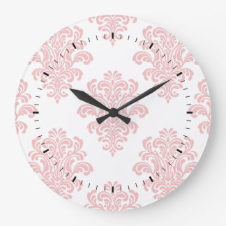 Girly Pink Damask Pattern Large Clock
