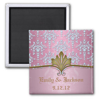 Girly Pink Damask with Baby Blue 2 Inch Square Magnet