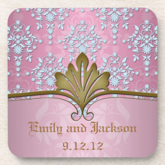 Girly Pink Damask with Baby Blue Coaster