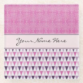 Girly Pink Damasks and Geometric Pattern Glass Coaster