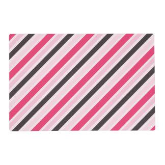 Girly Pink Diagonal Pinstripes Placemat