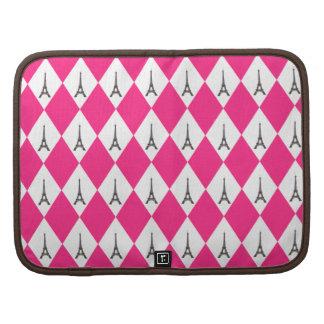 Girly Pink Diamond Pattern With Eiffel Tower Folio Planner