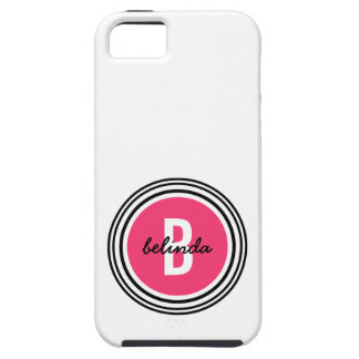Girly Pink Dot and Circles Monogram iPhone SE/5/5s Case