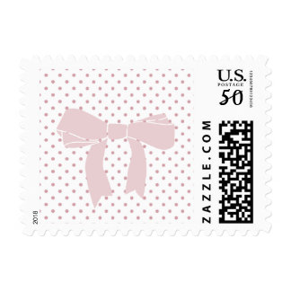 Girly Pink Dots with Bow Postage