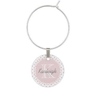 Girly Pink Dots Wine Glass Charm