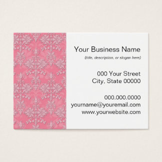 Girly Pink Double Damask Pattern Business Card