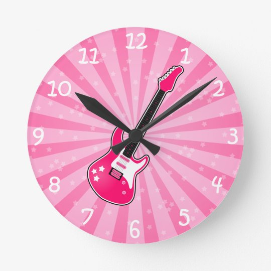 Girly Pink Electric Guitar Round Clock