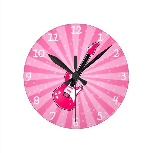 Girly Pink Electric Guitar Round Clocks