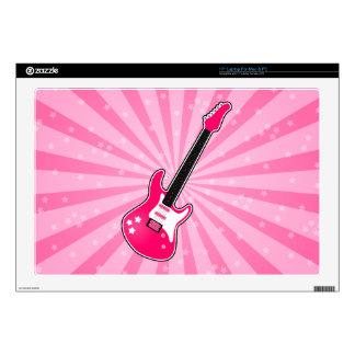 "Girly Pink Electric Guitar 17"" Laptop Decal"