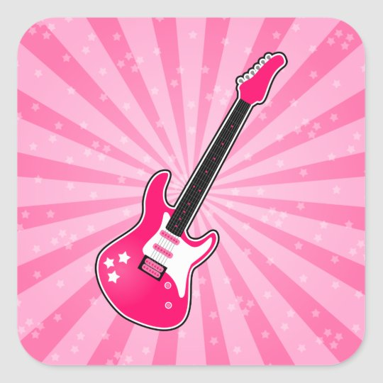 Girly Pink Electric Guitar Square Sticker