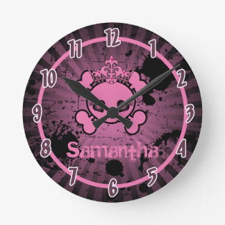 Girly Pink EMO Skull Rocker Personalized Clock