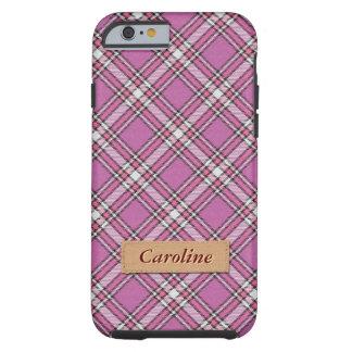 Girly Pink Fabric Plaid Tartan Pattern Tough iPhone 6 Case