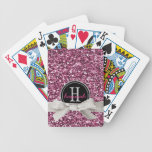 Girly Pink Faux Glitter with Ribbon and Monogram Card Deck