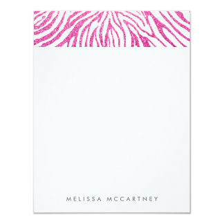 Girly Pink Faux Glitter Zebra Pattern Stationery Card
