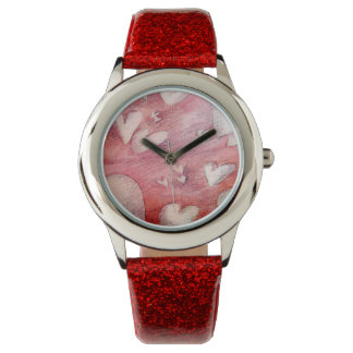 Girly Pink Floating Hearts Wristwatch