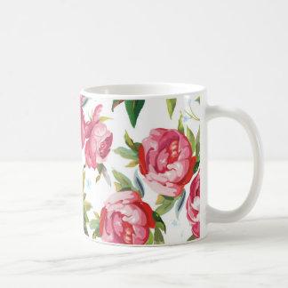 Girly Pink Floral Art Classic White Coffee Mug