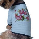 Girly Pink Floral Art Dog T Shirt