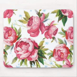 Girly Pink Floral Art Mouse Pad