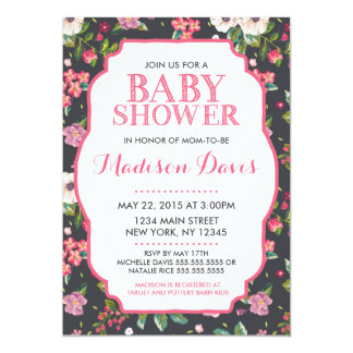 Girly Pink Floral Baby Shower Invitations