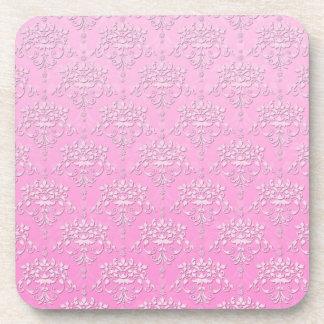 Girly Pink Floral Damask Pattern Coaster