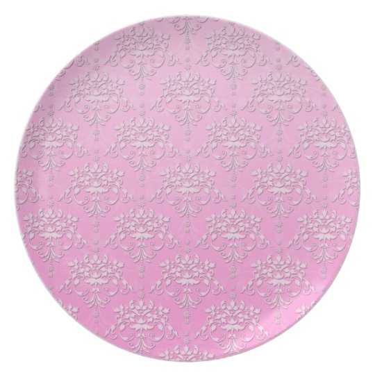 Girly Pink Floral Damask Pattern Plate